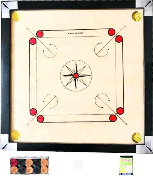 AARAV SPORTS Carrom Board Medium 26-26 Inch with Gloss Finish, Powder 2 Set Coins and Strikers 3 cm Carrom Board