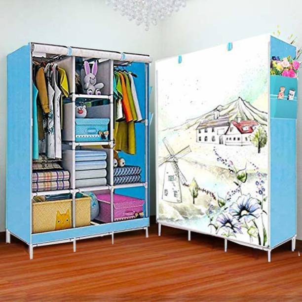 MS MODSTYLE Foldable Wardrobe Printed Door PP Collapsible Wardrobe