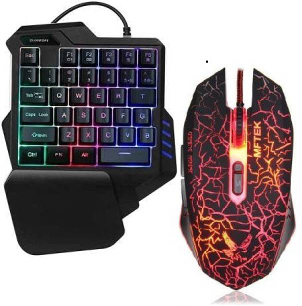 Sanctuary One Handed Gaming Keyboard + MFTEK gaming Mouse , 35 Keys Portable Mini Gaming Keypad Ergonomic Game Controller for PC PS4 Gamer Wired USB Gaming Keyboard and Mouse Combo Combo Set Combo Set