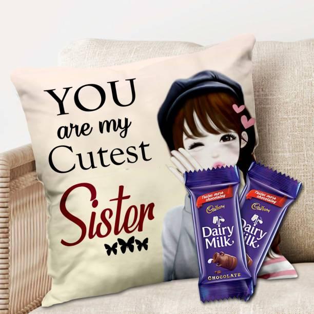 Midiron Gift for Sister, Cushion with Chocolate Gift for Sister on her Birthday, Anniversary, Rakhi, (IZ21DTSisterDairyMilk2CU16-102) Microfibre Gift Box