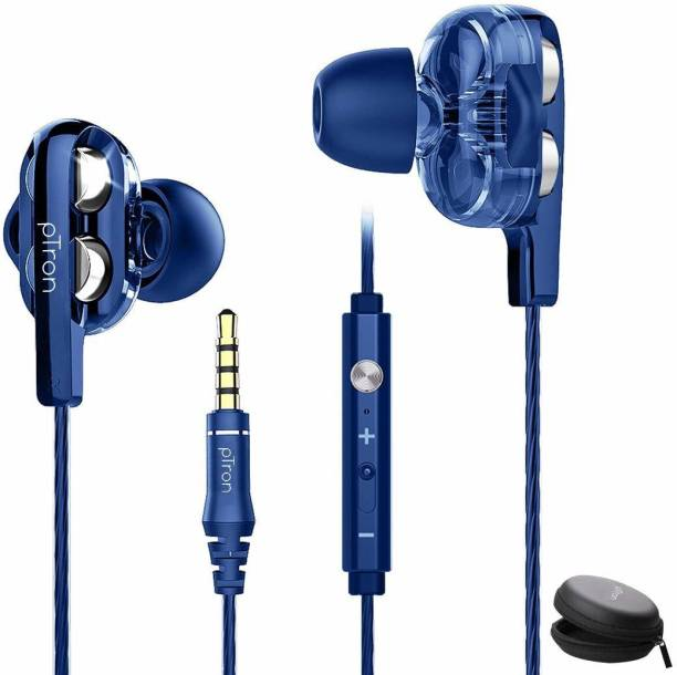 PTron Boom Pro Dual Driver Wired Headset (Blue, In the Ear) Wired Headset