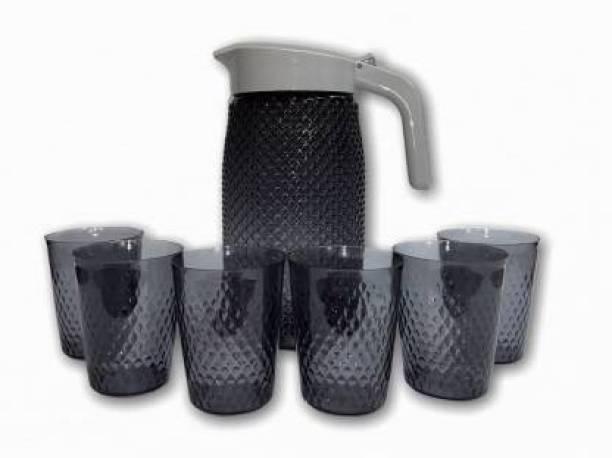 Finner Jug with 6 Pieces Glasses Set for Juice/Water/Drink Serve (2 L) Jug Glass Set (plastic) Jug Glass Set