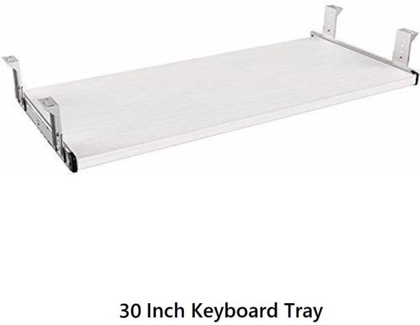 UniAart Heavy Duty Wooden Keyboard Tray with Height Adjustable – Perfect Options for Office and Home Desk (White, 10.1 cm x 30 Inch) Keyboard Tray