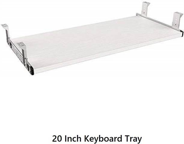 UniAart Heavy Duty Wooden Keyboard Tray with Height Adjustable – Perfect Options for Office and Home Desk (White, 10.1 cm x 20 Inch) Keyboard Tray