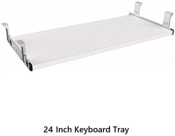 UniAart Heavy Duty Wooden Keyboard Tray with Height Adjustable – Perfect Options for Office and Home Desk (White, 10.1 cm x 24 Inch) Keyboard Tray
