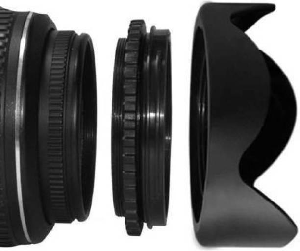 SHOPEE 58MM Reversible Flower Lens Hood For (18-55MM LENS 55-250MM LENS Lens Hood (58 mm, Black)  Lens Hood