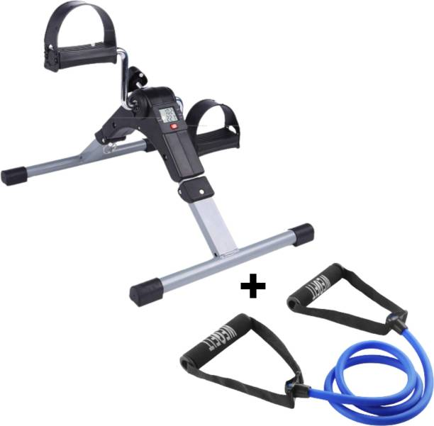 WErFIT Digital Portable Foot Hand Pedal Exerciser Cycle With Free Single Resistance Tube Cycling Kit