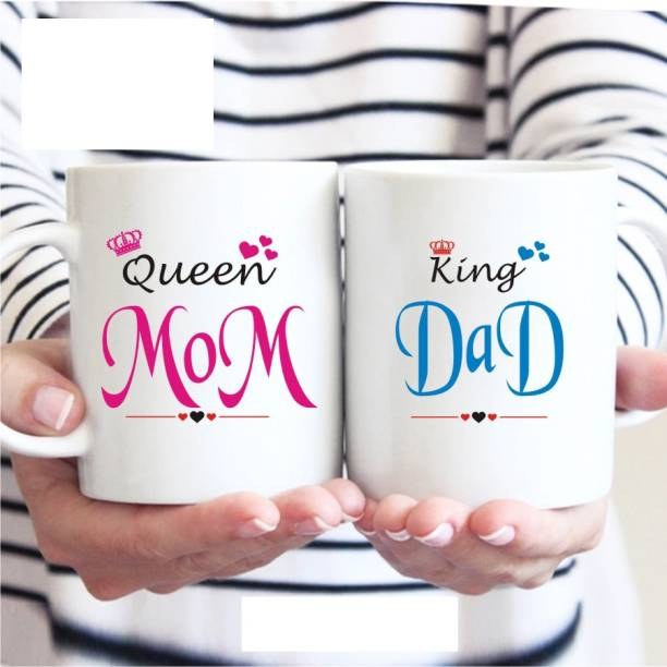 VA International GMD King Dad Queen Mom Couple Ceramic Coffee MUG Set of 2 (325ml) Ceramic Coffee Mug