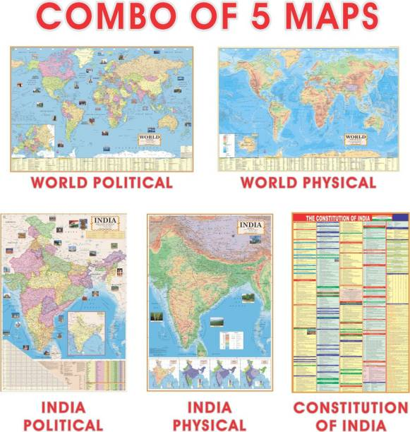 (COMBO OF 5 MAPS) INDIAN Constitution Chart With India & World Map (Both Political & Physical)| Set Of 5| Map Size (48 * 28) (23 * 36)|Paper Mint| Best Useful for UPSC, SSC, IES and other competitive Exams. Paper Print