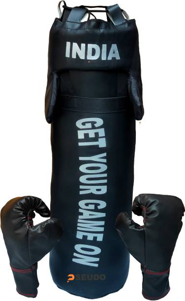 Pseudo By DealsUp Boxing Kit for Girls/Boys | Boxing Kit with Punching Bag, Head Gard and Gloves | Boxing Kit for Kids 52 Cms,3 to 12 Years, Black. Boxing Kit