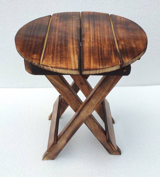 wood boss Wood Boss Wooden folding stool for living room | Wooden foldable stool, natural burnt finish, 12x12 inches Stool