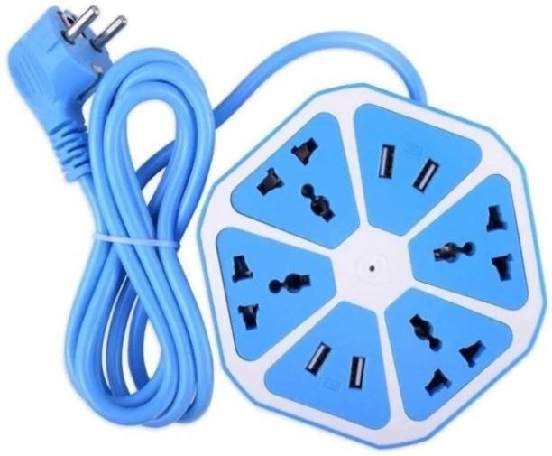 Blue Birds New Arrival Multiplug Extension Board with 4 USB Charging Ports & 4 Plug Sockets, Multipurpose Hexagon Shape Electrical Extension Board for Multiple Devices Use for Home/Office 4  Socket Extension Boards