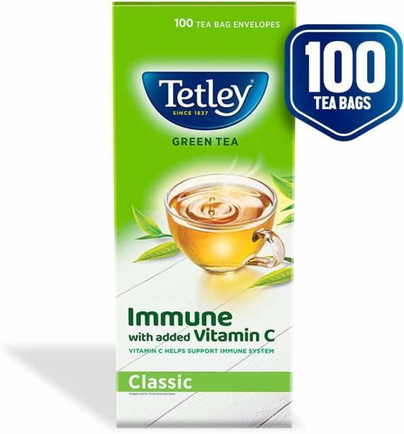 tetley Green Tea immune with added Vitamin C Classic Green Tea Box