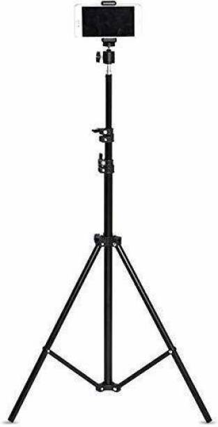 """Oxhox 7"""" feet 200cm [2.1 meters tripod] strong Metal mobile phone tripod/camera stand,beauty ring fill light stand, photography umbrella ,selfie video recording with mobile holder clip Tripod"""