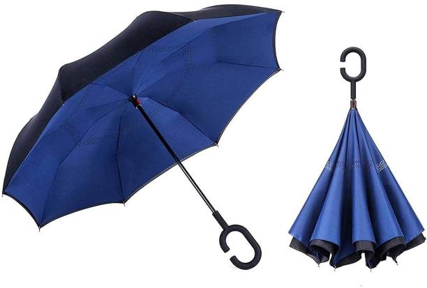 DODGE 'N WOLVES Unisex Auto Open Function Windproof Upside Down Reverse Umbrella with C-Shaped Handle and UV Protection Umbrella