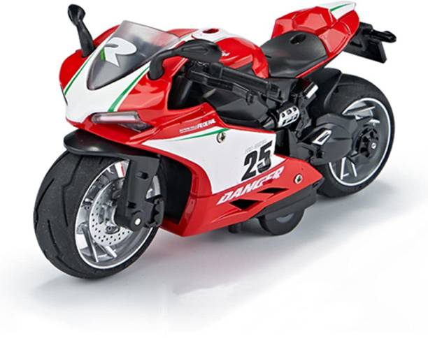 US1984 Die-Cast Metal Sport Bike Metal Bike Pull Back Action with Movable Steering, Light and Music