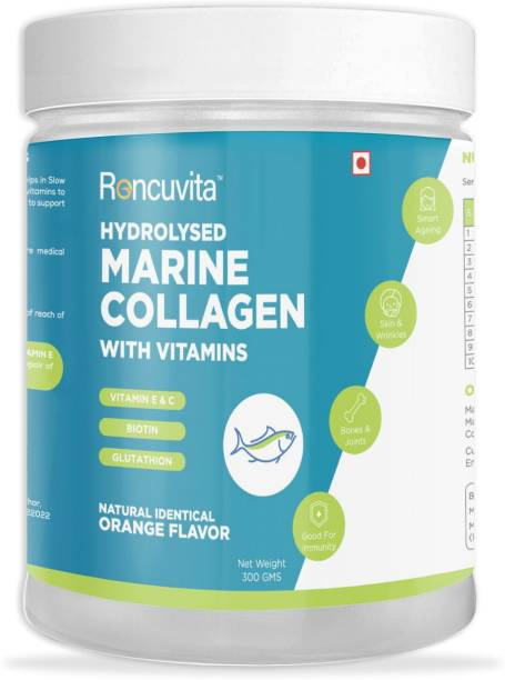 RONCUVITA Marine Collagen Powder with Biotin, Glutathione & Vitamins E & C in orange flavor