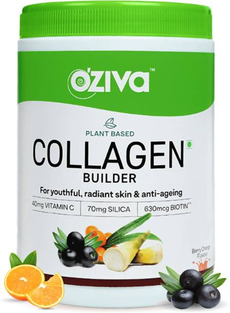 OZiva Plant Based Collagen Builder With Vitamin C, for Anti-Aging Beauty,Berry Orange