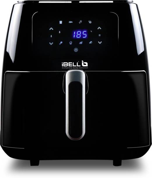 iBELL 8 Litre 1700W Air Fryer with 8 Cooking Presets, Smart Rapid Air Technology, Timer Function with Automatic Switch-off & Fully Adjustable Temperature Control (Black) Air Fryer