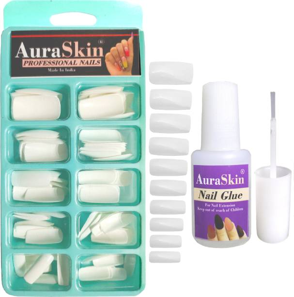 AuraSkin NEW Gorgeous 100PCS Professional Reuseable Artificial Nail Tips Best False Nails with 8ML Strong Nail Glue WHITE