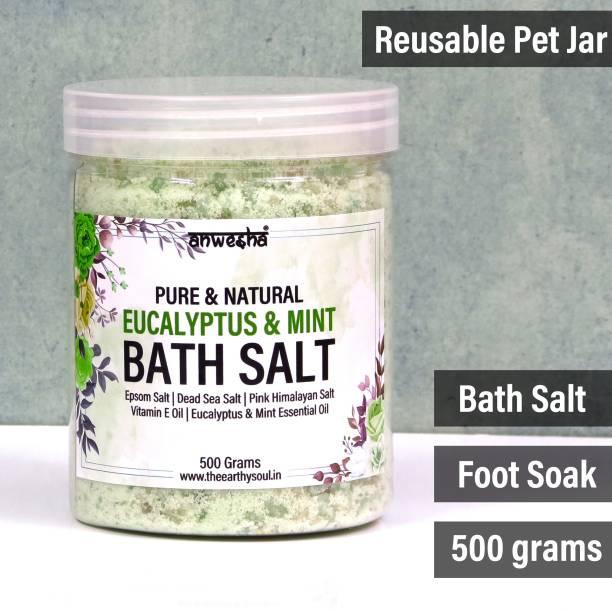 Anwesha Eucalyptus and Mint Natural & Pure Bath Salt - 500g - With Epsom Salt   Dead Sea Salt   Pink Himalayan Salt   Essential Oil