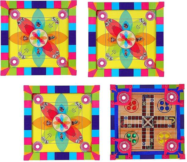Majik Kids Carrom Board with Ludo Game for Indoor Game for Boys and Girls 35 cm Carrom Board