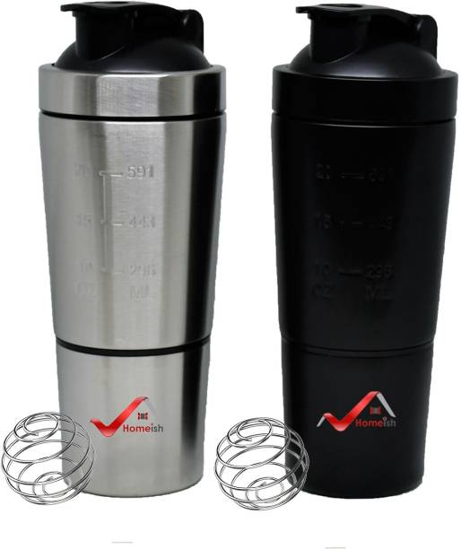 Homeish Stainless Steel Shaker for Gym with Extra Compartment 750 ml Shaker