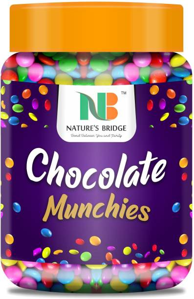 Nature's Bridge Gems Munchies Chocolate Munchies Gem s Chocolate for Cake / Cupcake Decoration (Bold Colors) - 450 Gm Jar Truffles