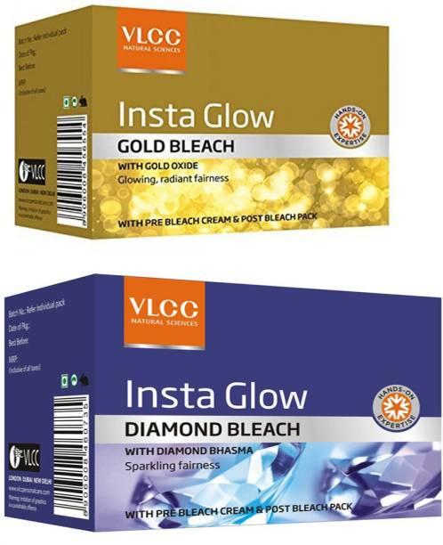 VLCC INSTA GLOW DIAMOND BLEACH +GOLD BLEACH COMBO*2