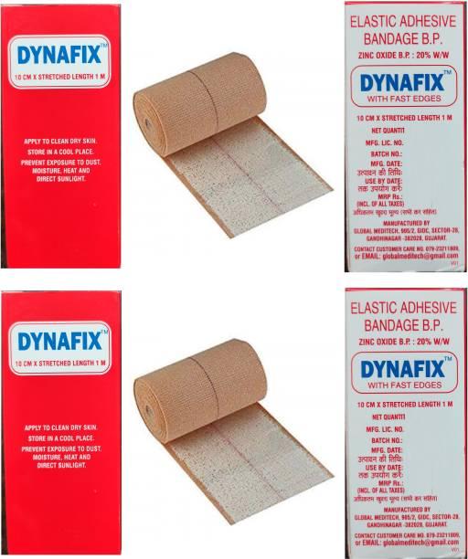 DYNAFIX Elastic Adhesive Bandage B.P 10CM * Stretched Length 1M (Pack Of 2) Crepe Bandage