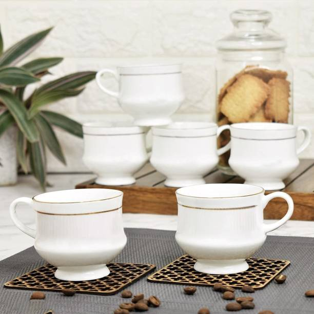 love unlimited Pack of 6 Bone China Bone China Tea Cups Set of 6 | Coffee Mugs for Home Office