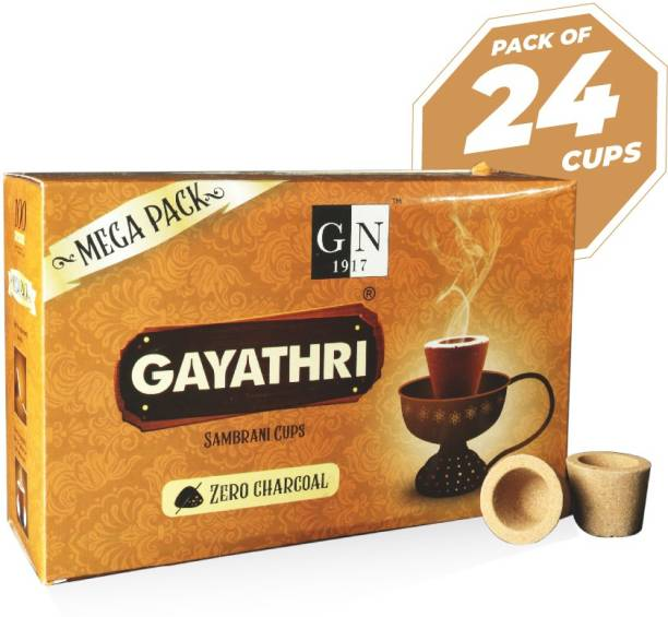 GN 1917 Non-Charcoal Gayathri Sambrani Cups (24 Top quality Sambrani Cups) - Super Value Pack Floral, Woody, Sandal Dhoop