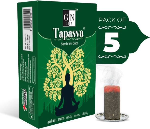 GN 1917 Tapasya Dhoop Family Pack (Pack of 5) - Pure Natural Sambrani Sticks Woody, Floral Dhoop
