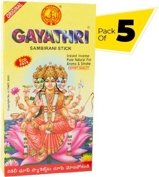 GN 1917 Gayathri Dhoop Family Pack combo (Pack of 5) Natural Ingredients, Long Lasting, Pure Sambrani Sticks Floral, Woody, Sandal Dhoop