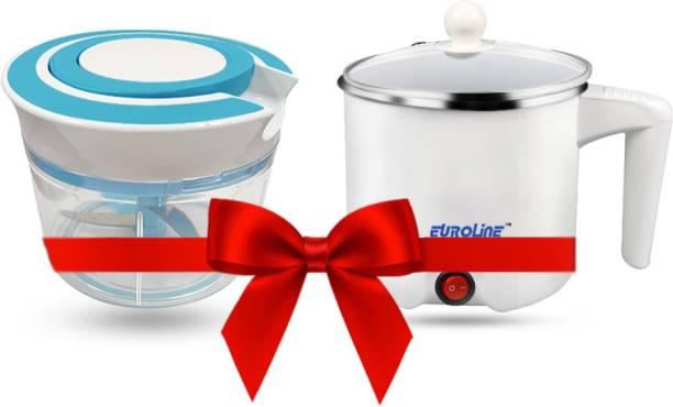 EUROLINE EL-100 Multifunction Cooker (White) & Chopper Blue Travel Cooker, Egg Cooker, Rice Cooker