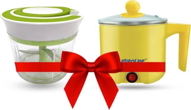 EUROLINE EL-100 Multifunction Cooker (Yellow) & Chopper Green Travel Cooker, Egg Cooker, Rice Cooker
