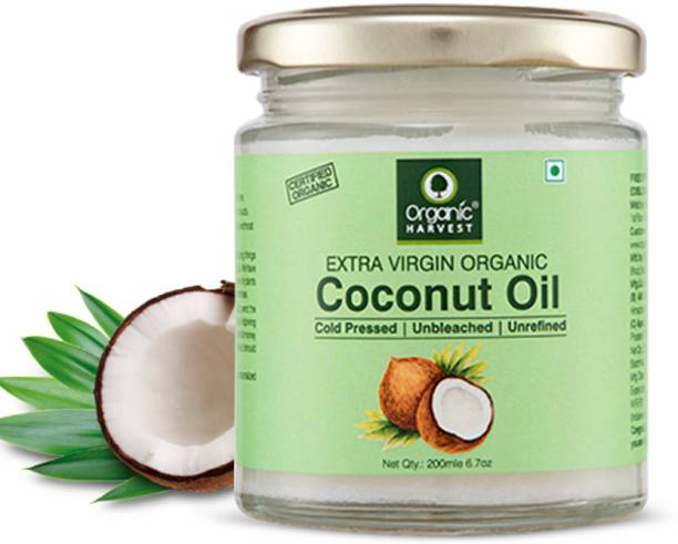 Organic Harvest Cold Pressed Extra Virgin Coconut Oil For Skin & Hair Growth | Use for Cooking | Unbleached & Unrefined | Sulphate & Paraben free - 200 ML Hair Oil