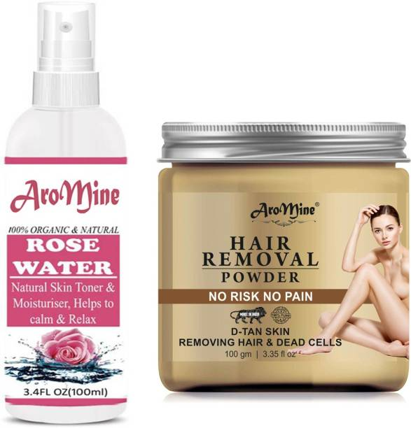 AroMine Pure Hair Removal Powder Three in one Use For Powder D-Tan Skin, Removing, No Rics & No Pain With Free Rose Water Combo Pack- Cream