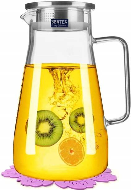 Bentex 1.8 L Water Glass Jug, Pitcher With Stainless Steel AirTight Lid, Glass Water Jug, Jug