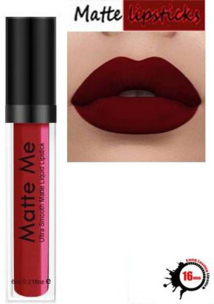 BLUSHIS Beauty Women High Defination Smudge proof Waterproof Long lasting Liquid matte Lipstick Non Transfer Common Colour For Daily Use L-A-K-M-E- Deep Maroon