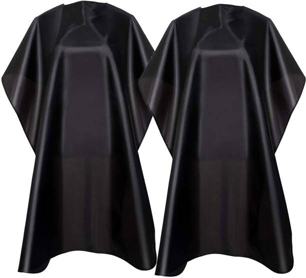 Tifurko Waterproof Barber Styling Cape - Professional Salon Cape for Men, Unisex Black Hair Cutting Cape with Adjustable N, 35.5 x 55 inches Hairdresser Cape for Hair Treatment - Cutting/Coloring/Perming Black Pack of 2 Makeup Apron