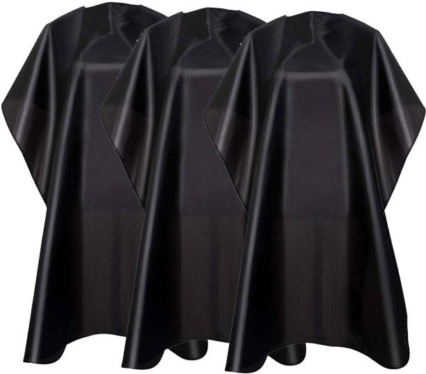 QKYPZO Waterproof Barber Styling Cape Professional Salon Cape for Men, Unisex Black Hair Cutting Cape with Adjustable N, 35.5 x 55 inches Hairdresser Cape for Hair Treatment - Cutting/Coloring/Perming Black Pack of 3 Makeup Apron