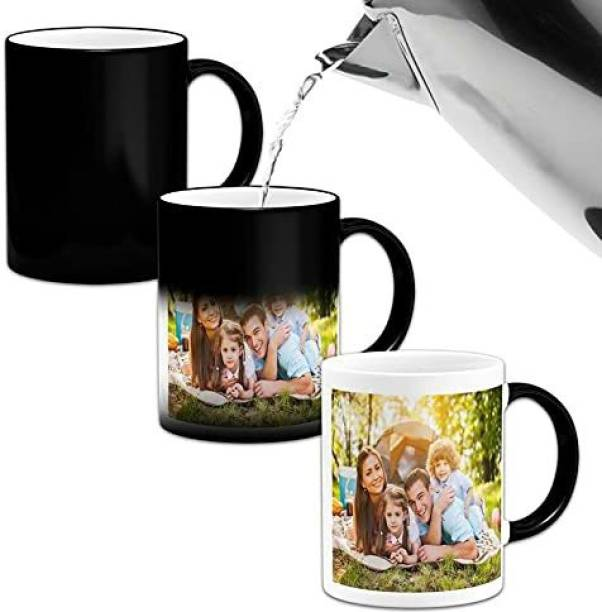 Avi enterprise Ceramic Magic Black - Printed Personalized Coffee/Cup with Own Photo, Quote, Text, Birthday Wishes for Gifting Purpose & Decoration Color Changing Ceramic Coffee Mug