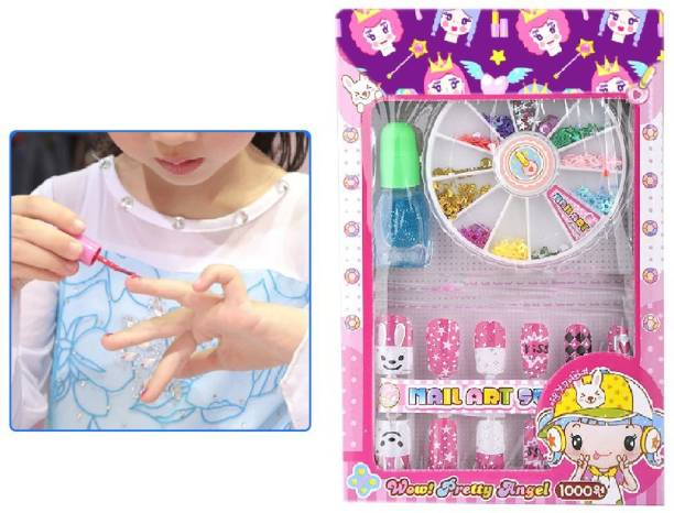 DeoDap Nail Art Kit with 14 Artificial Nails with Tools and Glitters Home Salon Birthday Gift for Girls Little Girls, Kids (Random Cute Nail Designs)