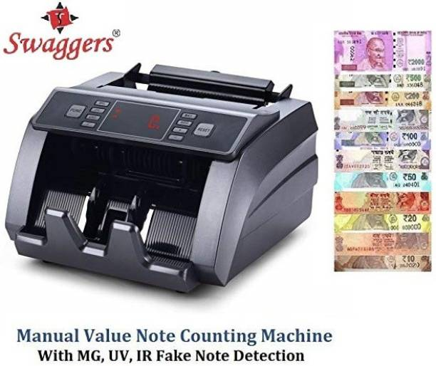 SWAGGERS Money Counting Machine with Fake Note Detector for All New & Old Indian Currency with Manual Value Feature and LCD Display Note Counting Machine