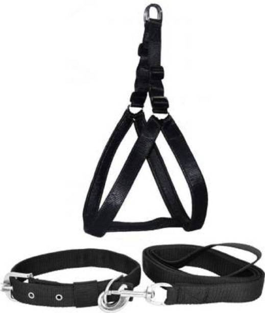 DYS Pets Dog Belt Combo of 1 inch Black Padded Dog Body Harness, Dog Leash Black with handle and Black Collar for Dog , Adjustable Chest Size, Dog Harness & Leash Dog Harness & Leash