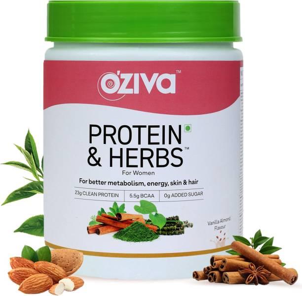 OZiva Protein & Herbs,Women, with Ayurvedic Herbs, for Better Metabolism, Vanilla Almond Whey Protein