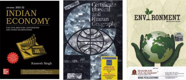 Indian Economy By Ramesh Singh + Certificate Physical Geography And Human Geography By Goh Cheng Leong + Environment By Shankar (Combo Set At Discoount)