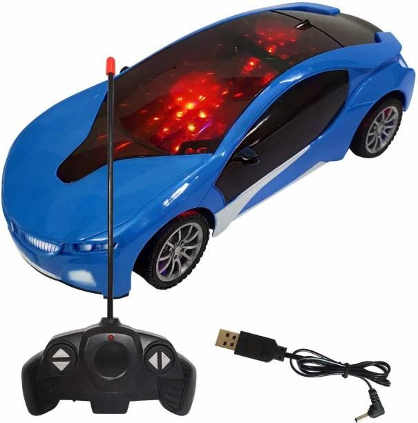 AMeflex Chargeable Famous 3D Remote Control Racing Car For Kids Design Car for 3+ Years Kids (BLUE)