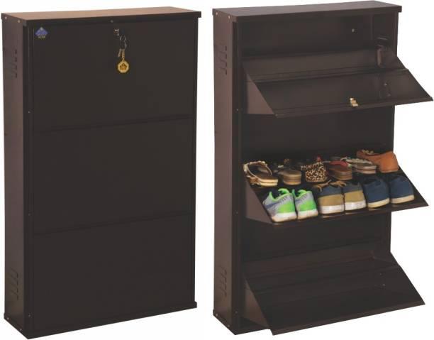 Delite Kom 24 Inches wide Jumbo Three Door Double Decker Powder Coated Wall Mounted Metallic Coffee Metal, Metal, Metal Shoe Rack